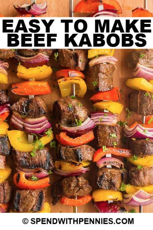 Beef kabobs with writing