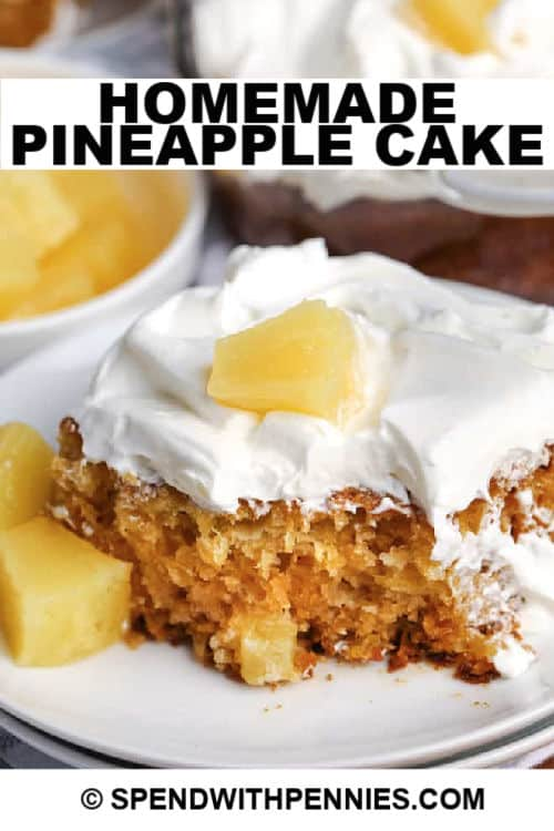 A slice of pineapple cake with writing