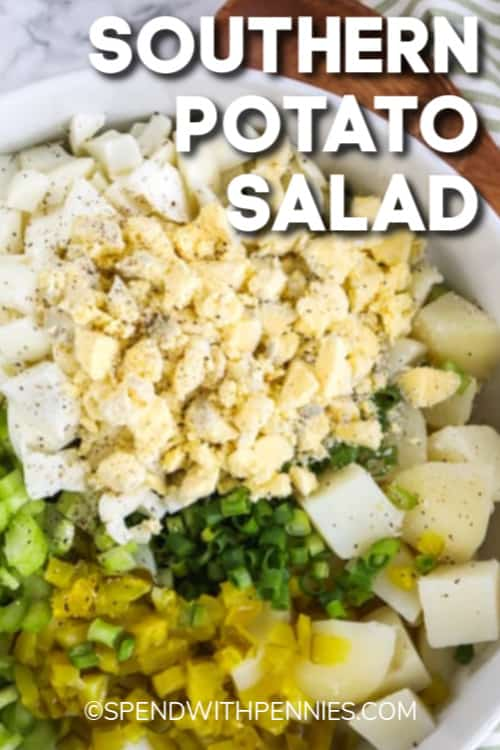 Southern Potato Salad ingredients in a white bowl with a title