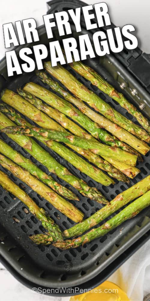 Asparagus cooked in an air fryer with writing