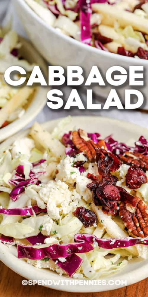 Cabbage Salad in a white bowl with a title