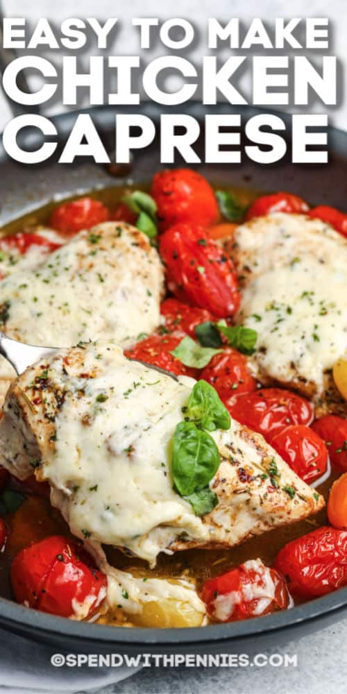 Chicken Caprese being served with writing