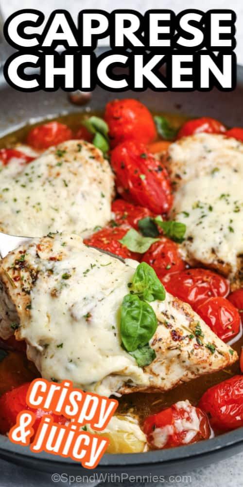 Caprese Chicken being served with writing