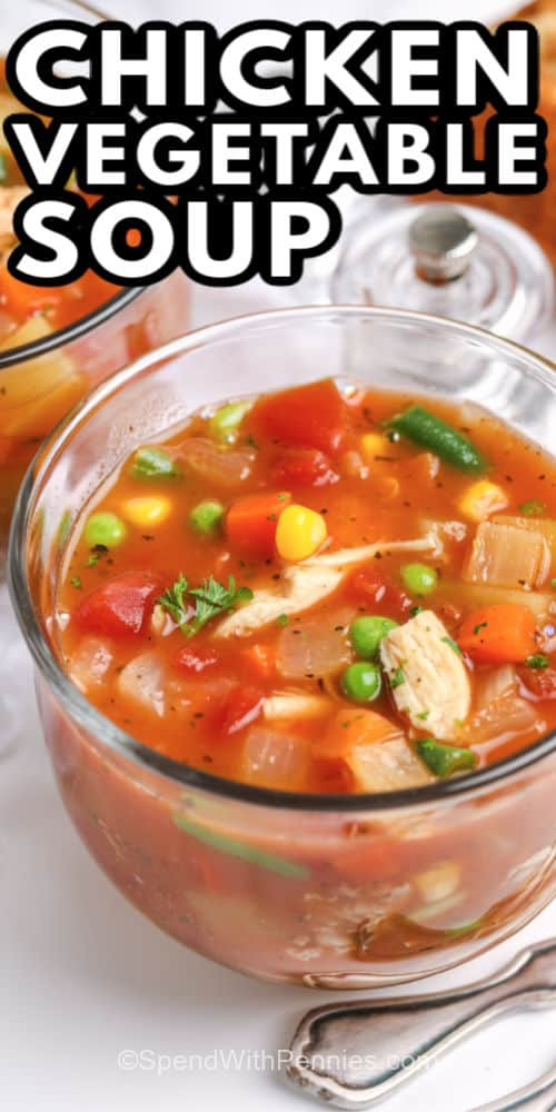 a cup of chicken vegetable soup with writing