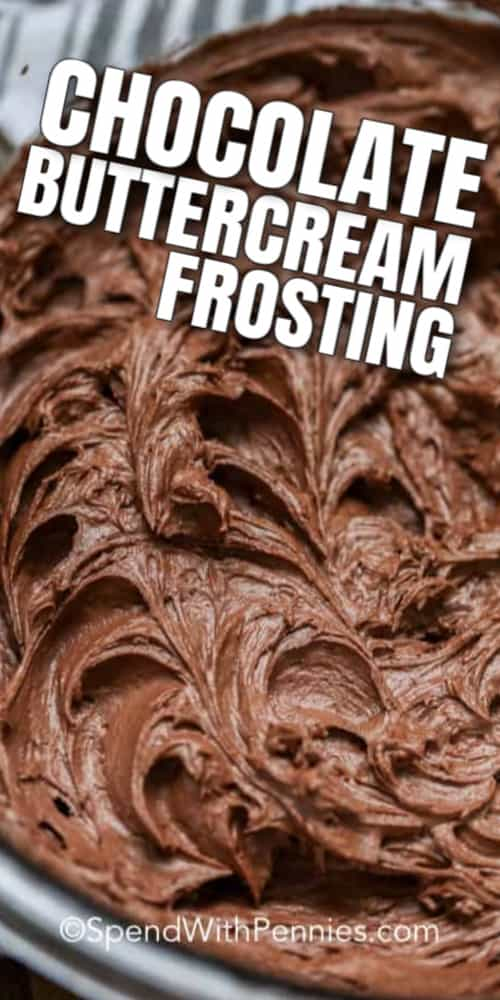 A bowl of Chocolate Buttercream Frosting ready to frost a cake with a title