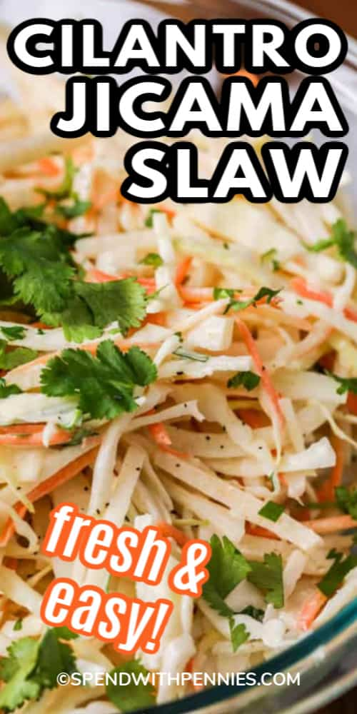 Cilantro Jicama Slaw in a clear bowl garnished with cilantro, with a title