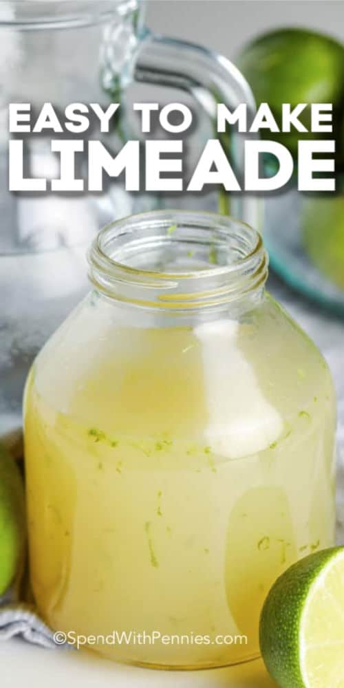 A jar of lime juice concentrate with writing