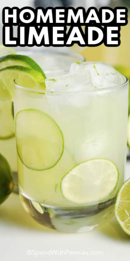 A glass of homemade limeade with writing