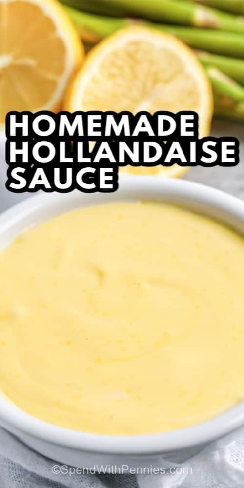 A bowl of hollandaise sauce with writing