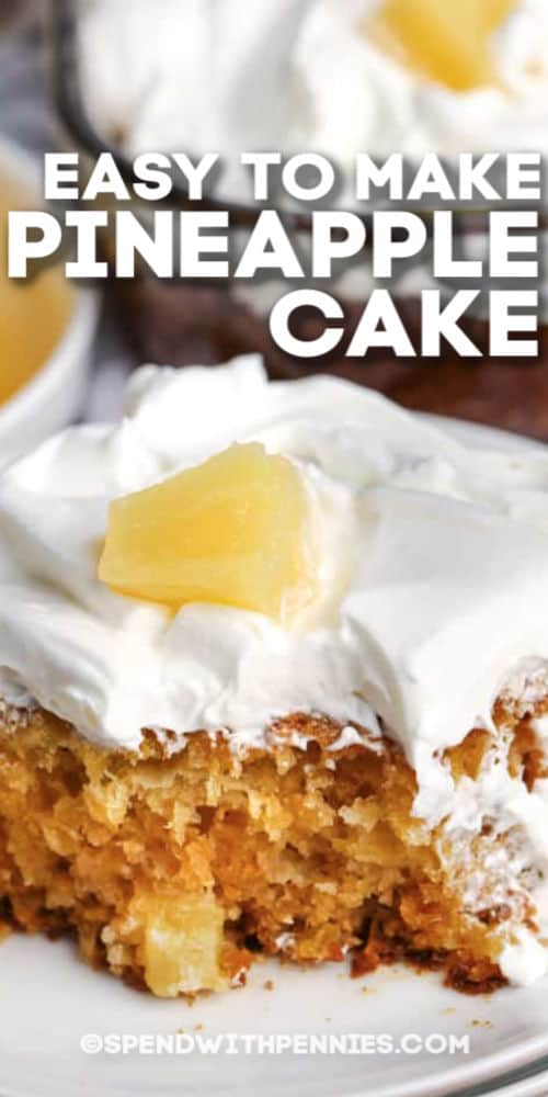 A slice of pineapple cake with text