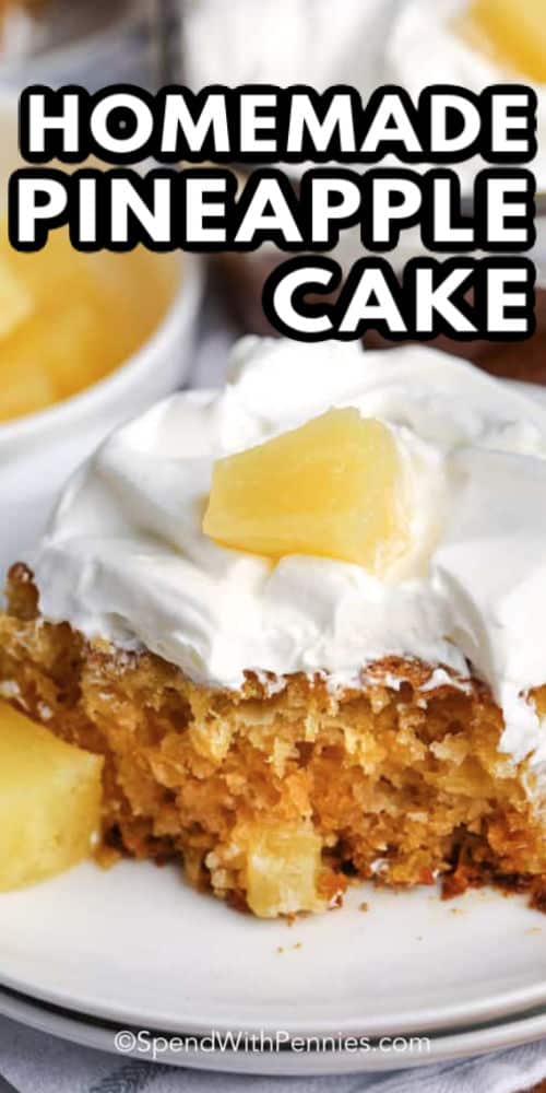 a serving of pineapple cake on a plate with writing