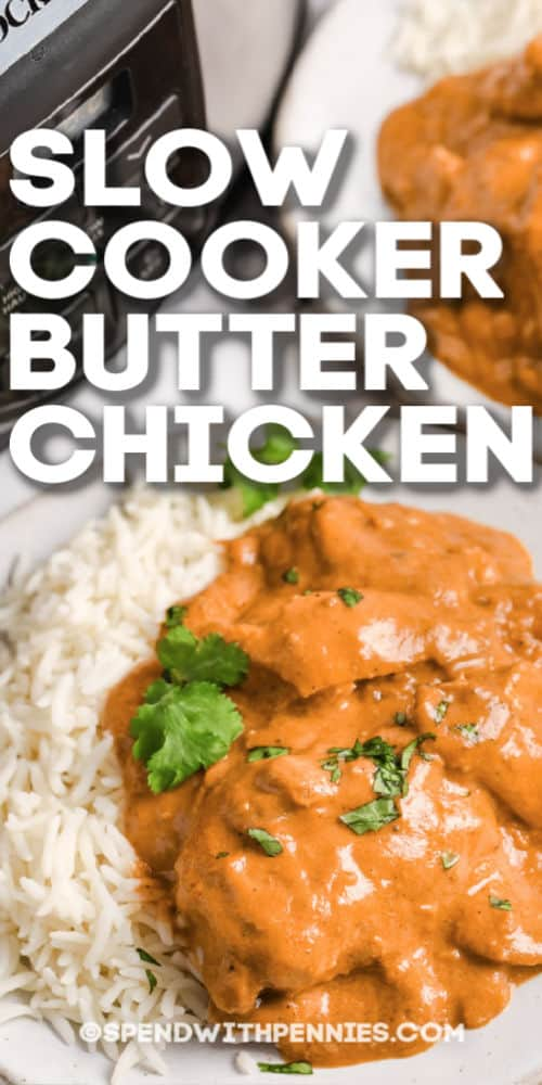 Slow cooker butter chicken served on rice with writing