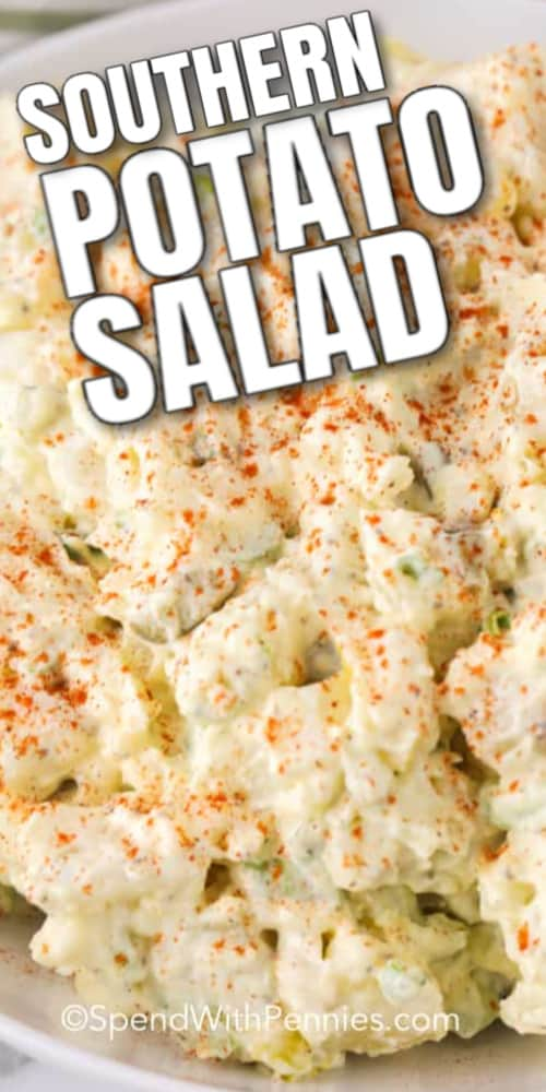 Southern Potato Salad garnished with paprika in a white bowl with a title.