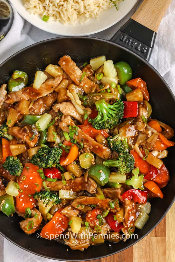 Pork Stir Fry over the top view in a frying pan