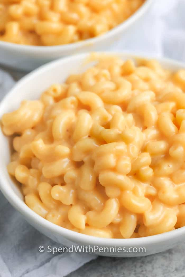 Stove Top Mac and Cheese in two white bowls