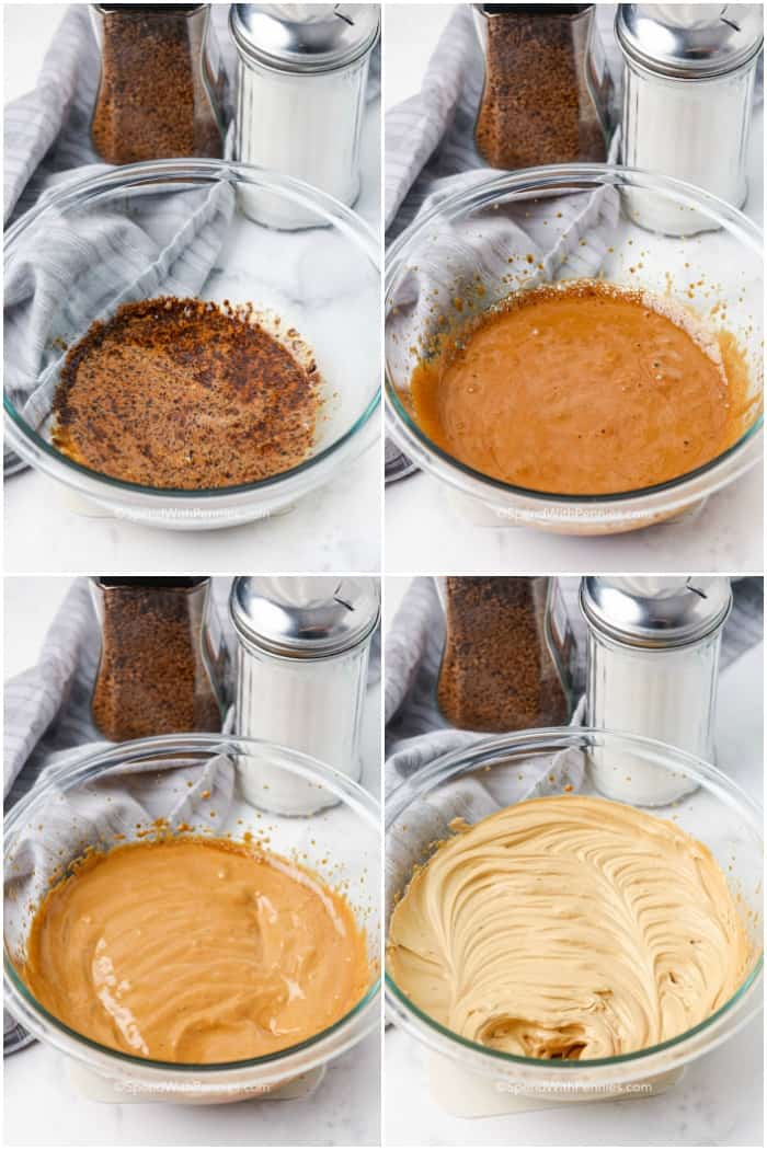 Steps for making whipped coffee in a clear bowl with sugar and instant coffee in the background