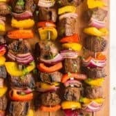 beef shish kabobs on wood