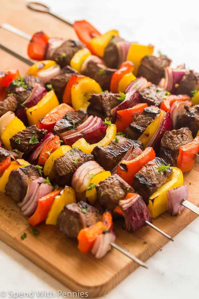 beef shish kabob close up