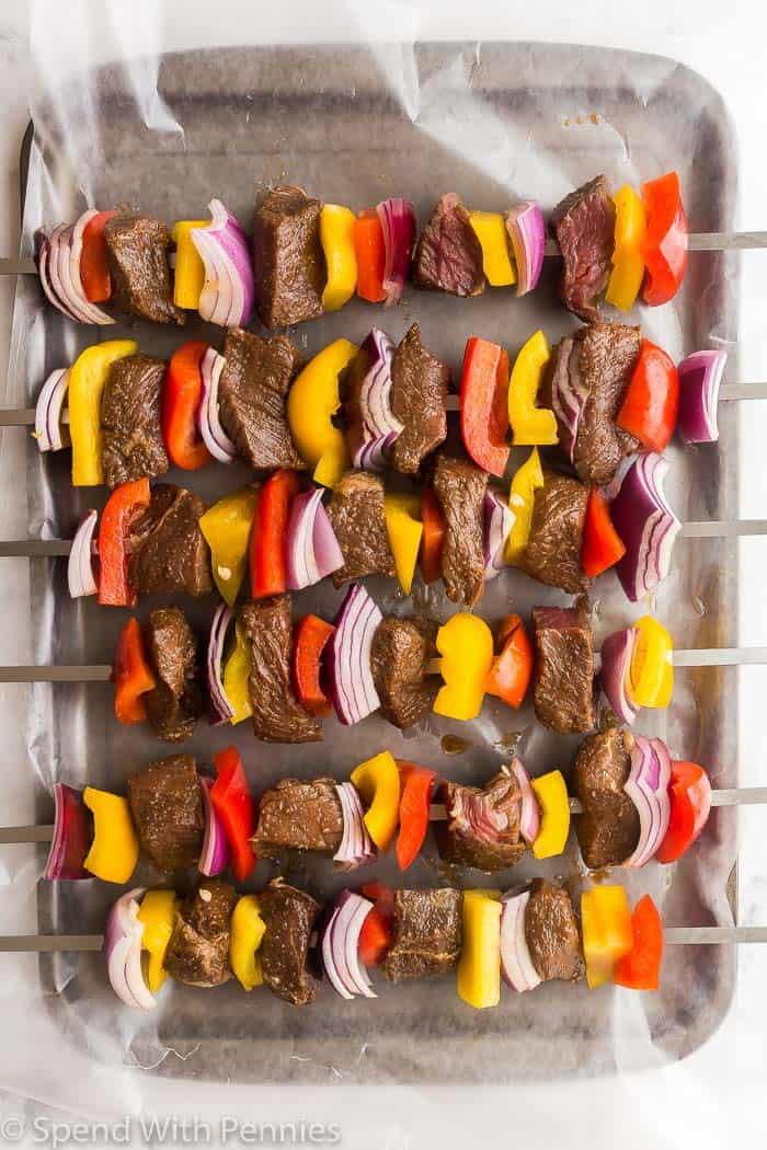 beef shish kabob before grilling