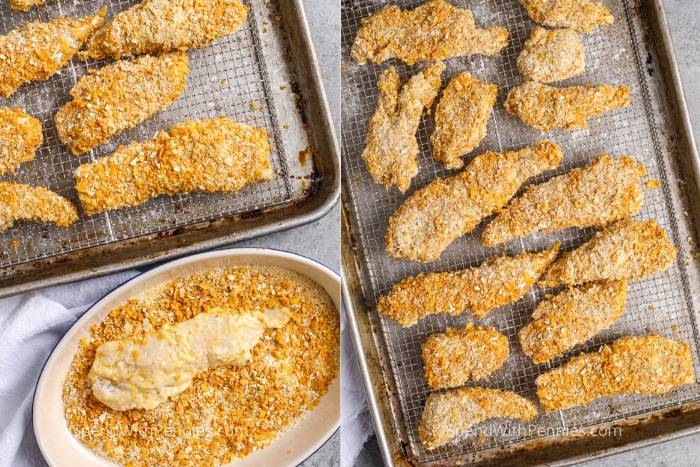process of breading Air Fryer Chicken Tenders and then putting on a baking sheet