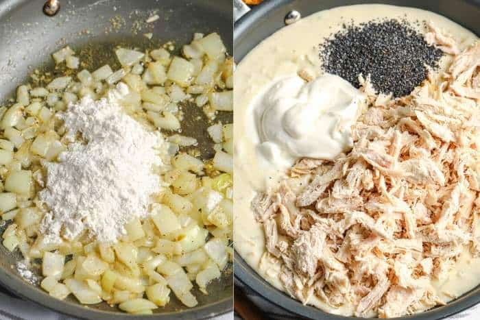 process of adding ingredients to frying pan to make Poppy Seed Chicken