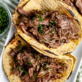 Three Beef Barbacoa tacos
