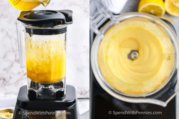 Two images showing the steps to blend hollandaise sauce