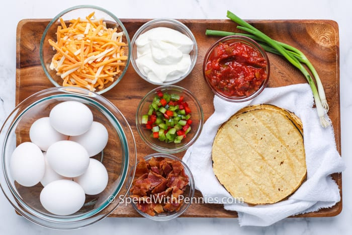 ingredients to make breakfast tacos