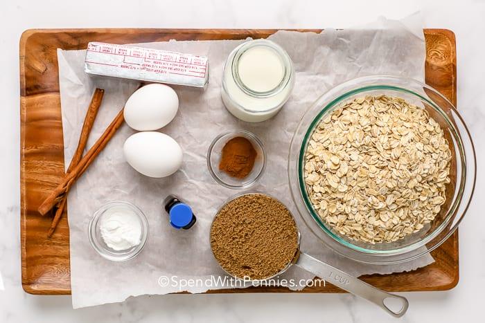 Brown sugar baked oatmeal ingredients