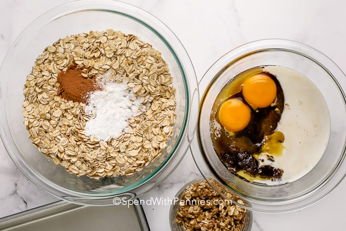 Dry and wet ingredients for brown sugar baked oatmeal in separate bowls.