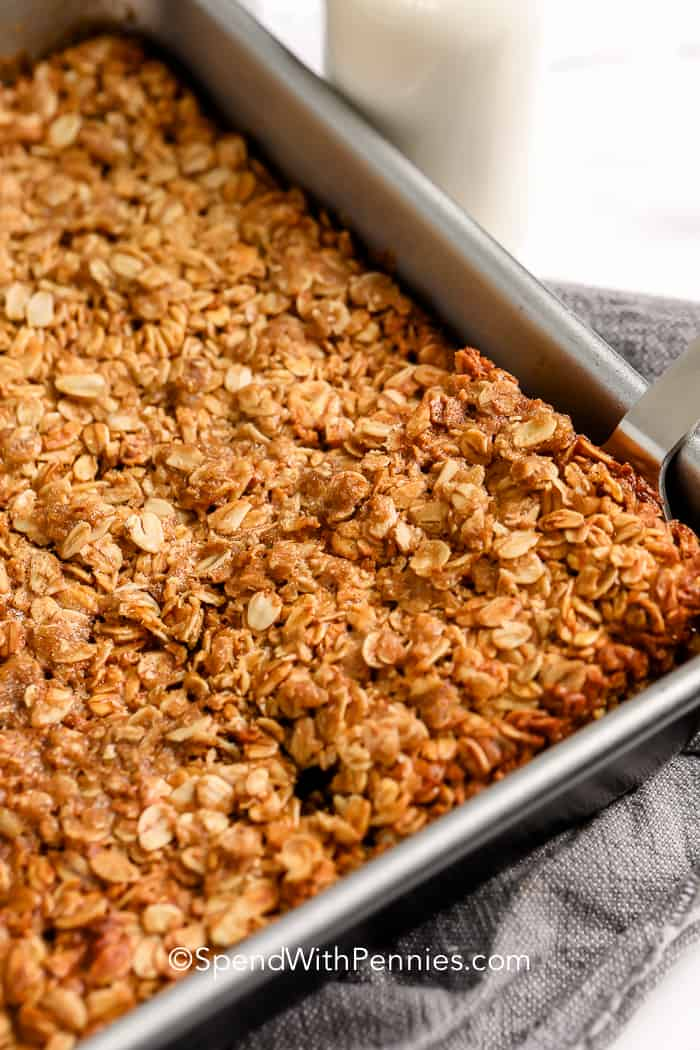 Brown sugar baked oatmeal being served.