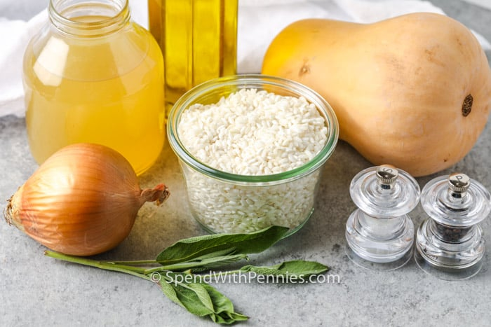 ingredients to make Butternut Squash Risotto