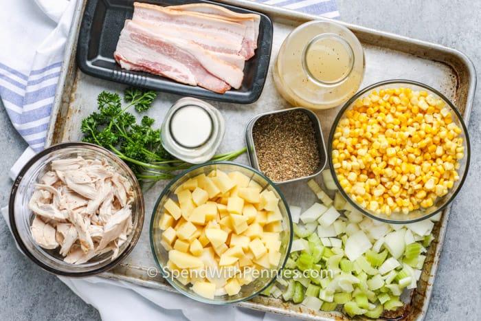 ingredients to make Chicken Corn Chowder on a baking dish