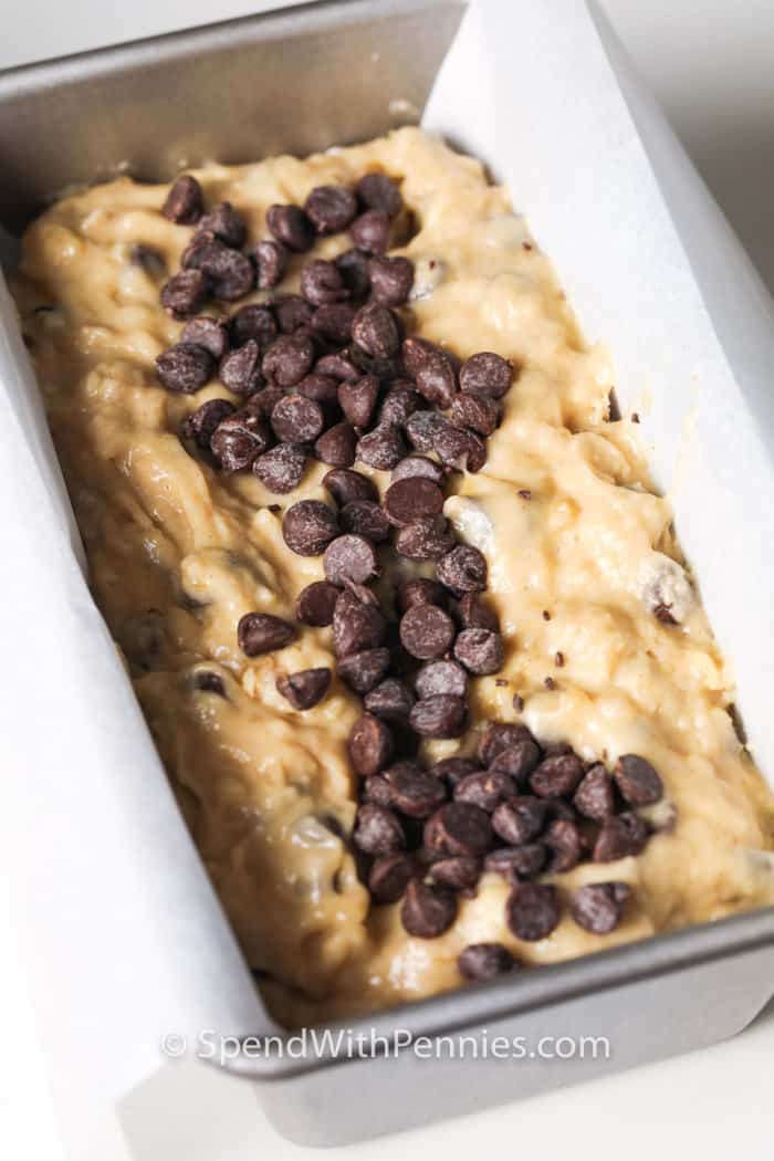 Chocolate Chip Banana Bread in the pan before baking