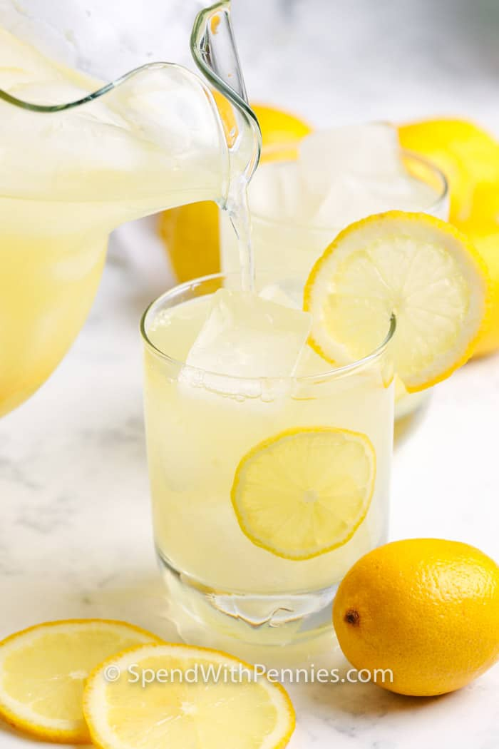 Homemade Lemonade being poured into a glass