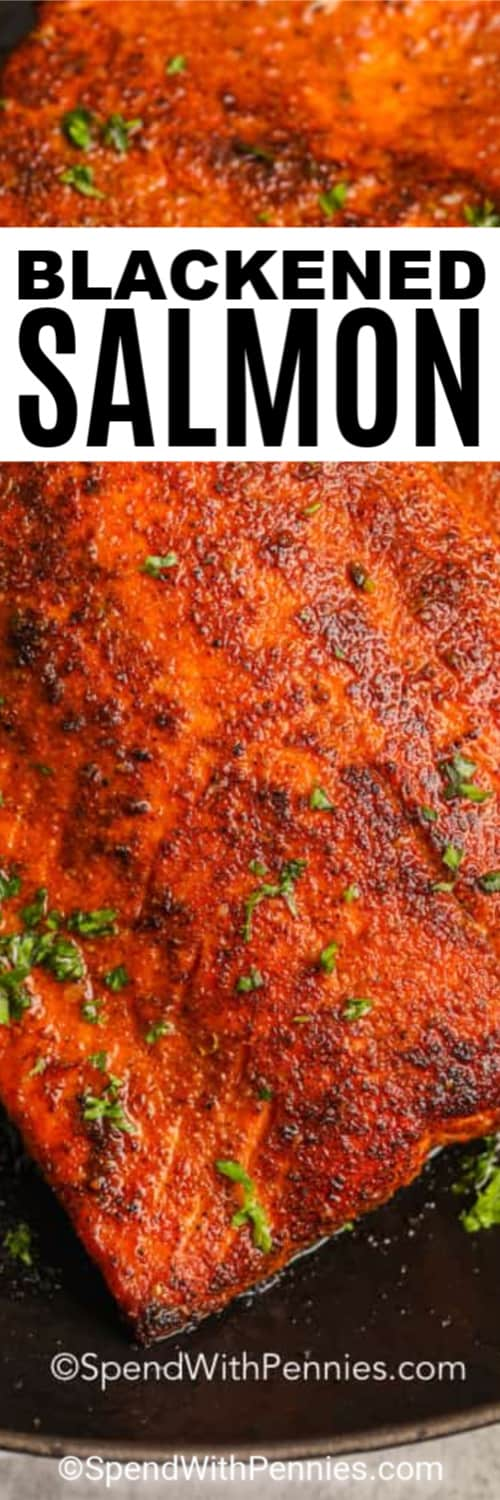 A piece of Blackened Salmon on a plate, garnished with parsley with a title.