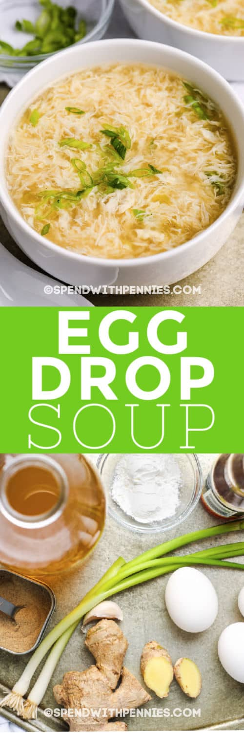 ingredients for Egg Drop Soup and a title with an image of finished dish in a white bowl