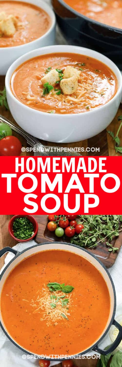 Fresh Tomato Soup in a bowl and in a pot with writing
