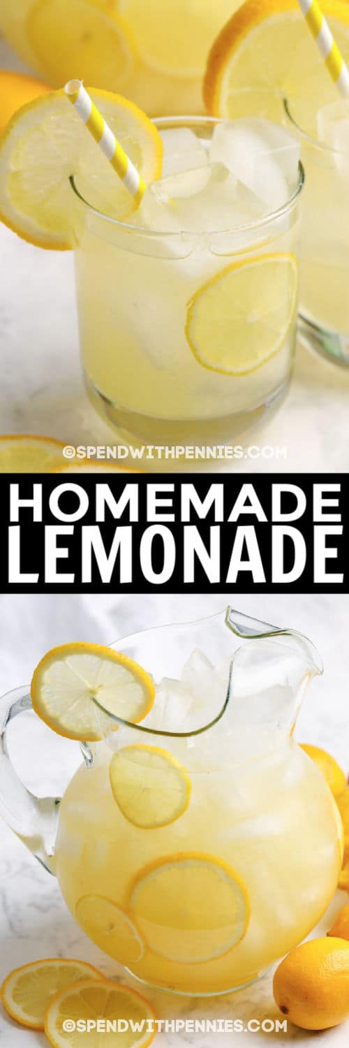jug of Homemade Lemonade garnished with lemons and an image lemonade in a glass with writing