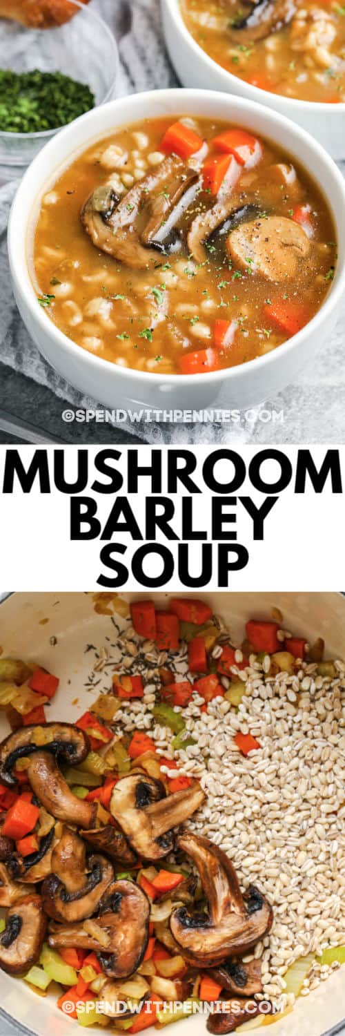 ingredients to make Mushroom Barley Soup with a title and the finished dish in a white bowl