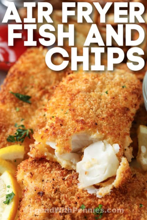 Air Fryer Fish and Chips with the fish with a bite out of it and writing