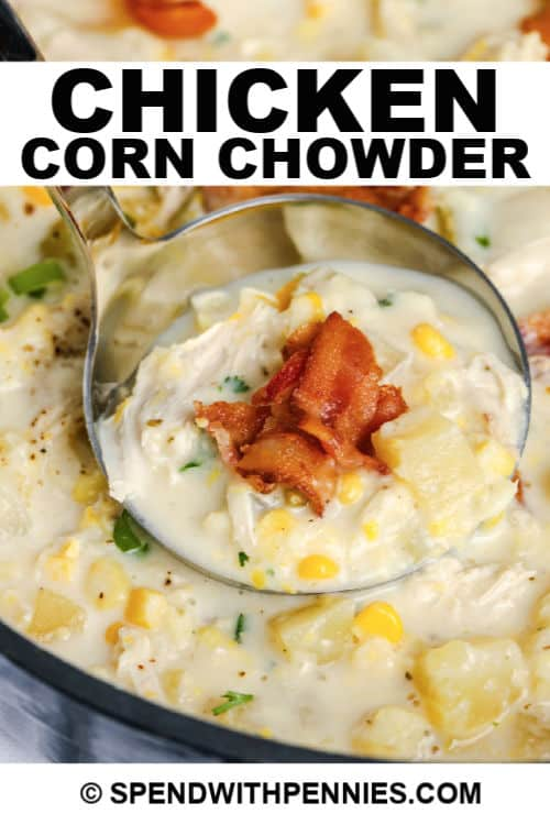 laddle of Chicken Corn Chowder with writing