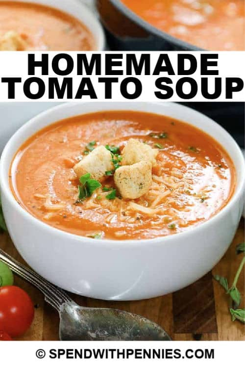 Fresh Tomato Soup in a white bowl with writing