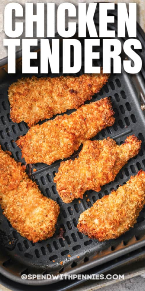 Air Fryer Chicken Tenders cooking in an air fryer with a title