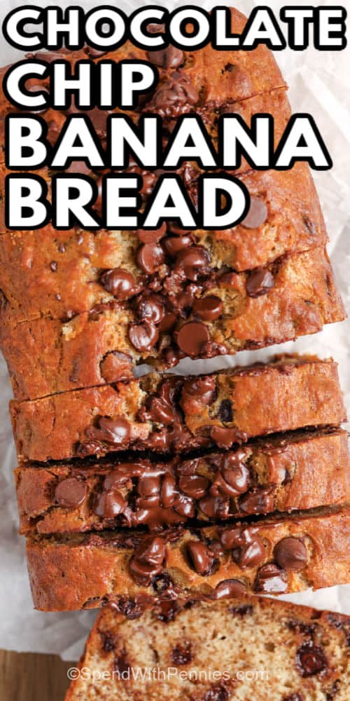 loaf of Chocolate Chip Banana Bread with writing