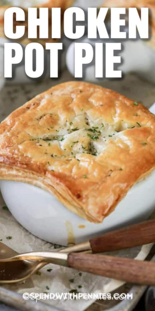 close up of Classic Chicken Pot Pie with a title