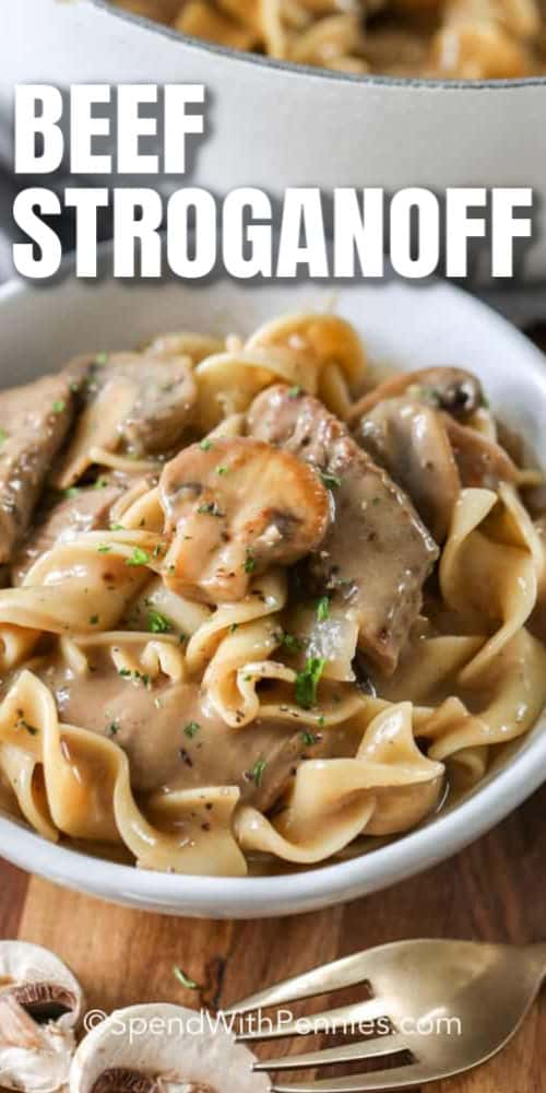 close up of Easy Beef Stroganoff with a title