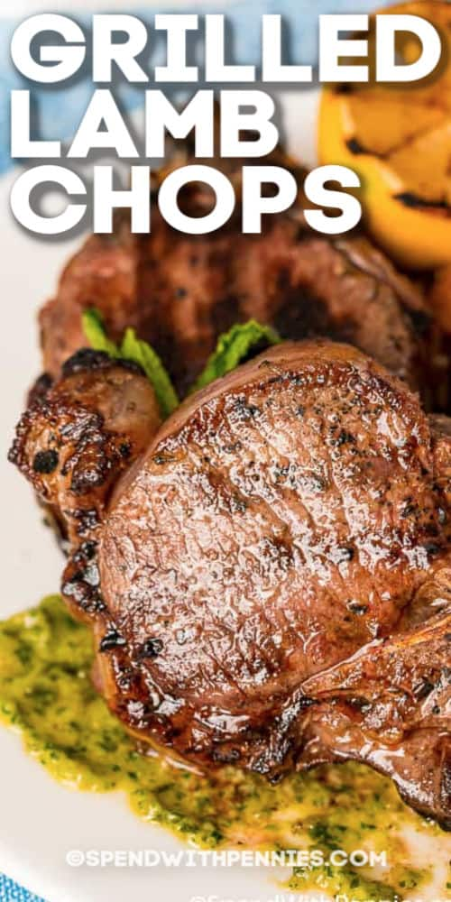 Grilled Lamb Chops on a plate with vegetables and writing
