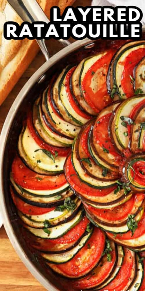 Layered Ratatouille in a pan with a title.