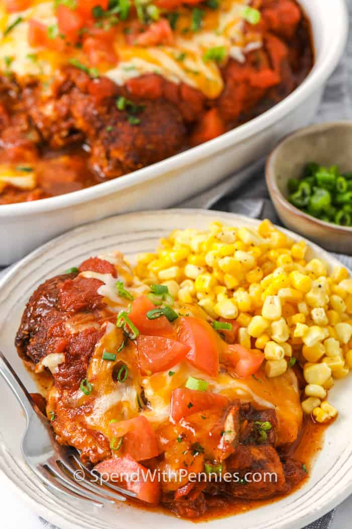 Salsa Chicken on a plate with corn